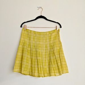 BURBERRY Yellow Pleated Skirt 6US